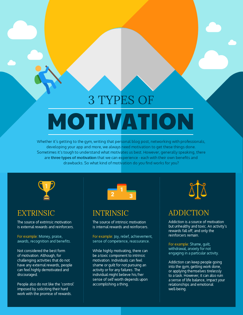 3 types of motivation to learn - Infographic